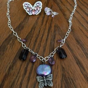 Jewelry - Purple Butterfly Ring and Necklace set 🦋